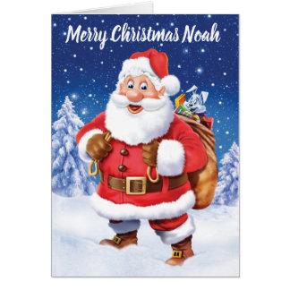 Jolly Santa with toy sack custom Christmas card
