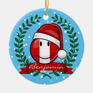 Jolly Smiling Peruvian Flag Christmas Style Ceramic Ornament