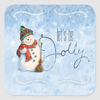 Jolly Snowman LBJa Square Sticker