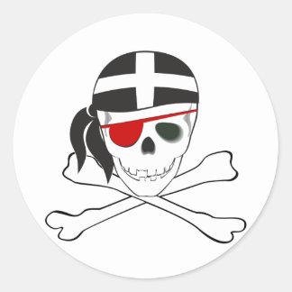 JollyRoger wearing Cornish Flag Classic Round Sticker