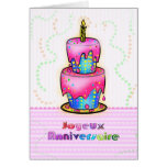 Jolyeux Anniversaire French Happy Birthday Cake Cards