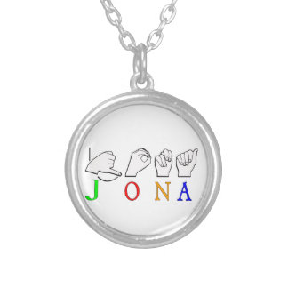 JONA ASL FINGERSPELLED NAME SIGN SILVER PLATED NECKLACE
