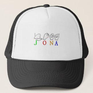 JONA ASL FINGERSPELLED NAME SIGN TRUCKER HAT