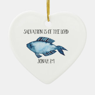 Jonah 2:9 ceramic heart decoration