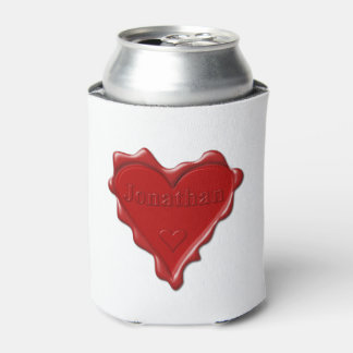 Jonathan. Red heart wax seal with name Jonathan Can Cooler