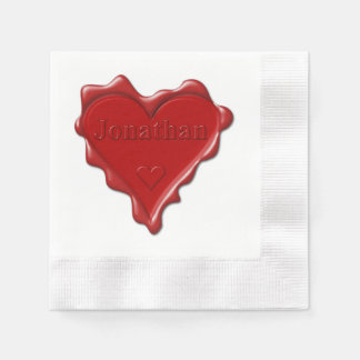 Jonathan. Red heart wax seal with name Jonathan Disposable Serviette