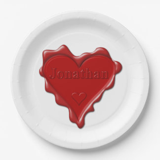 Jonathan. Red heart wax seal with name Jonathan Paper Plate