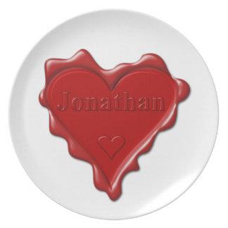 Jonathan. Red heart wax seal with name Jonathan Plate
