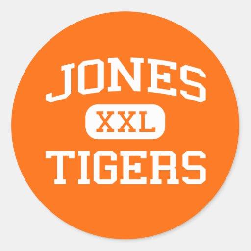 Jones - Tigers - High School - Orlando Florida Round Stickers