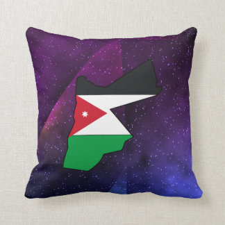 jordan Flag Map on abstract space background Cushion