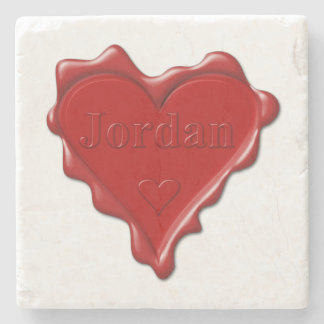 Jordan. Red heart wax seal with name Jordan Stone Coaster