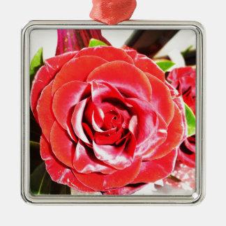 Jordan Red Rose 2 Silver-Colored Square Ornament
