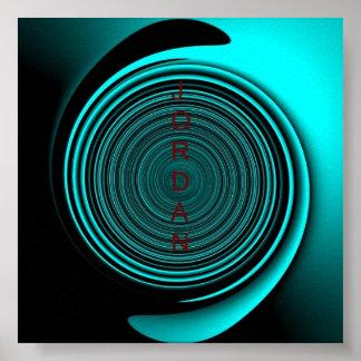 Jordan Teal Black Swirl Poster
