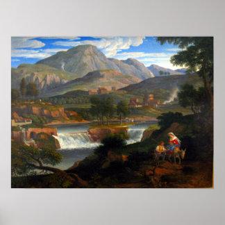 Joseph Anton Koch Waterfalls at Subiaco Poster