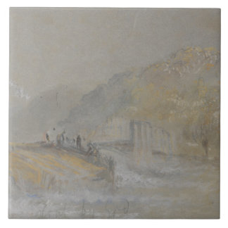 Joseph Mallord William Turner - Foul by God- River Large Square Tile