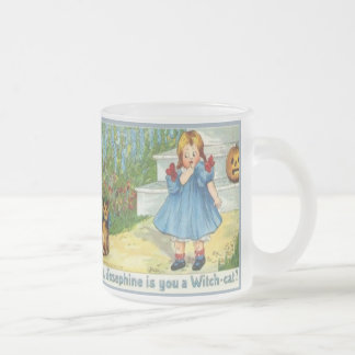 Josephine the witch Cat Frosted Glass Mug