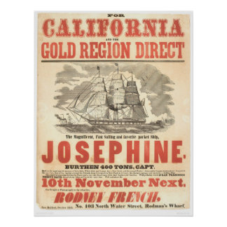 """""""Josephine"""" to California Advertisement (1280A) Poster"""