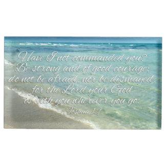 Joshua 1:9 Bible Verse Christian Beach Table Card Holder