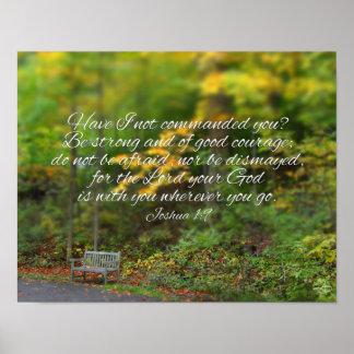 Joshua 1:9 Bible Verse Christian Scripture Poster