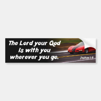 Joshua 1:9 Bible Verse Red Car Christian Religious Bumper Sticker