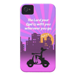 Joshua 1:9 Girl on Scooter w/Skyline - Bible Verse Case-Mate iPhone 4 Cases
