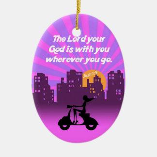 Joshua 1:9 Girl on Scooter w/Skyline - Bible Verse Ceramic Oval Decoration