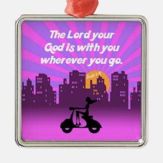 Joshua 1:9 Girl on Scooter w/Skyline - Bible Verse Square Metal Christmas Ornament