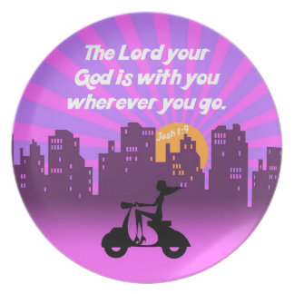 Joshua 1:9 Girl on Scooter w/Skyline - Bible Verse Party Plates
