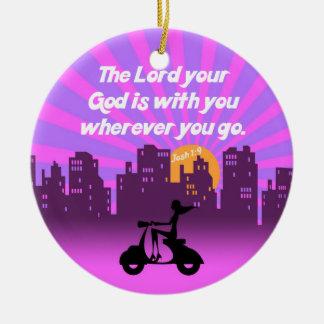 Joshua 1:9 Girl on Scooter w/Skyline - Bible Verse Round Ceramic Decoration