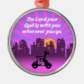 Joshua 1:9 Girl on Scooter w/Skyline - Bible Verse Silver-Colored Round Decoration