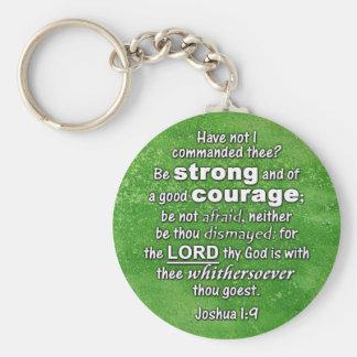 Joshua 1:9 KJV - Be Strong & of Good Courage Bible Key Ring