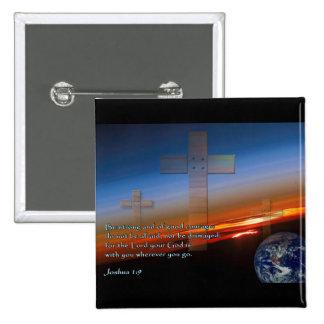 Joshua 1:9 Sunset Crosses 15 Cm Square Badge