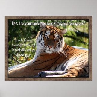 Joshua 1:9 Tiger Poster