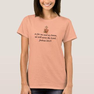 Joshua 24:15 Basic T-Shirt w/Pink Flower Cross