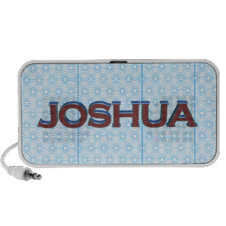 Joshua 3D text graphic over light blue lace Laptop Speakers