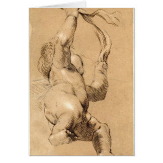 Joshua Reynolds Sketch of Putto Holding a Sash Card