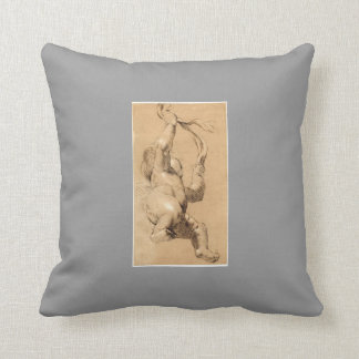 Joshua Reynolds Sketch of Putto Holding a Sash Throw Pillow