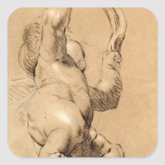Joshua Reynolds Sketch of Putto Holding a Sash Square Stickers