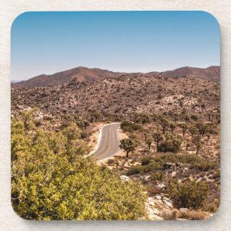 Joshua tree lonely desert road beverage coaster