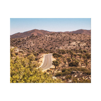 Joshua tree lonely desert road canvas print