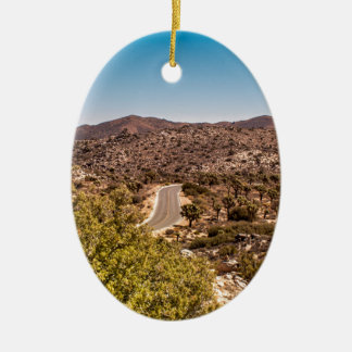 Joshua tree lonely desert road ceramic ornament