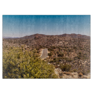 Joshua tree lonely desert road cutting board