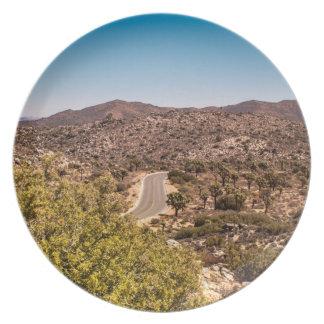 Joshua tree lonely desert road dinner plate