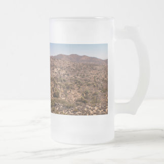 Joshua tree lonely desert road frosted glass beer mug