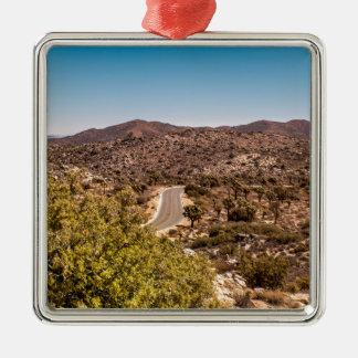 Joshua tree lonely desert road metal ornament