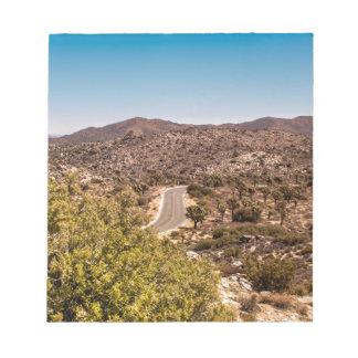 Joshua tree lonely desert road notepad