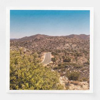 Joshua tree lonely desert road paper napkins
