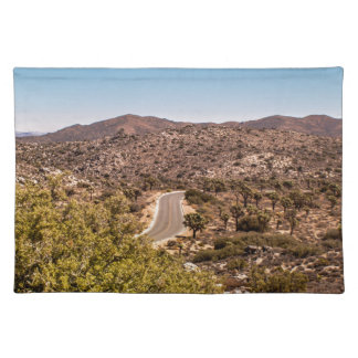 Joshua tree lonely desert road placemat
