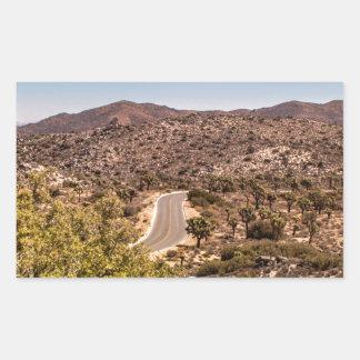 Joshua tree lonely desert road rectangular sticker
