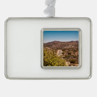 Joshua tree lonely desert road silver plated framed ornament